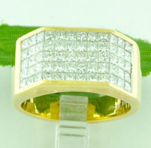 3.50 Ct 18k Solid Yellow Gold Mens Natural Diamond Ring Princess Cut Invisible