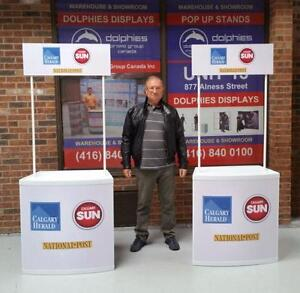 Marketing Event PORTABLE Promo Promotional Sampling TABLE + CUSTOM Printed Graphics