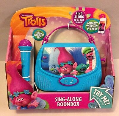 Dreamworks TROLLS SING ALONG BOOMBOX Microphone Music Connect MP3 Toy Blue POPPY