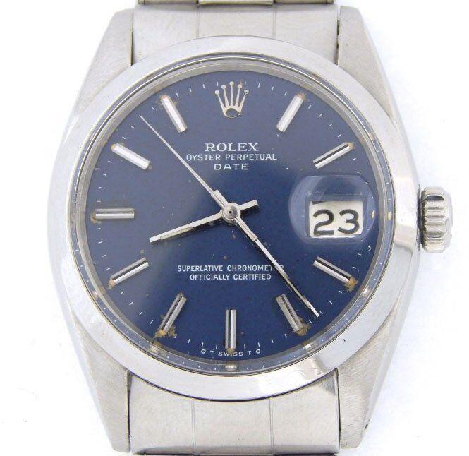 Rolex Date Mens Stainless Steel Watch Oyster Rivet Bracelet Blue Stick Dial 1500