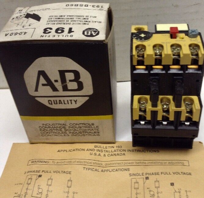 Allen-Bradley Bimetallic Overload Relay 193-BSB60 Series B