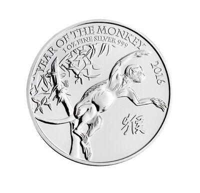 Lunar Jahr des Affe Year of the Monkey 2016 1 OZ Silber Silver Großbritannien  ()
