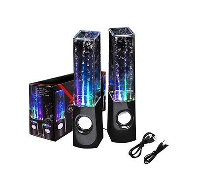 USB Water Dancing Fountain Stereo Speakers Set for PC Laptops Tablets Mobiles