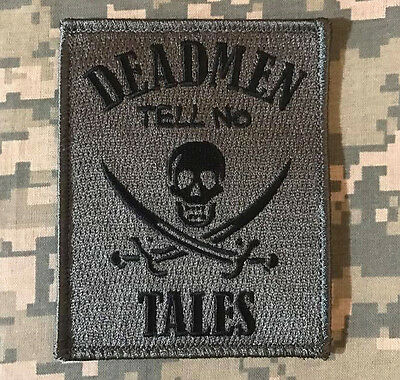 DEAD MEN TELL NO TALES PIRATE SKULL SWORDS ACU DARK VELCRO® BRAND FASTENER PATCH