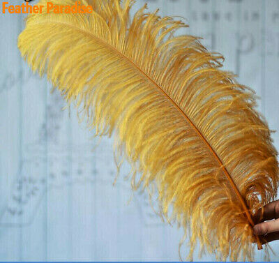 Gold Ostrich Feathers 6-24inches Wedding Centerpiece Feather Craft Feather 12 pc - Feather Centerpiece