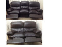 very good condition dark Brown leather 3+2 seater recliner sofas