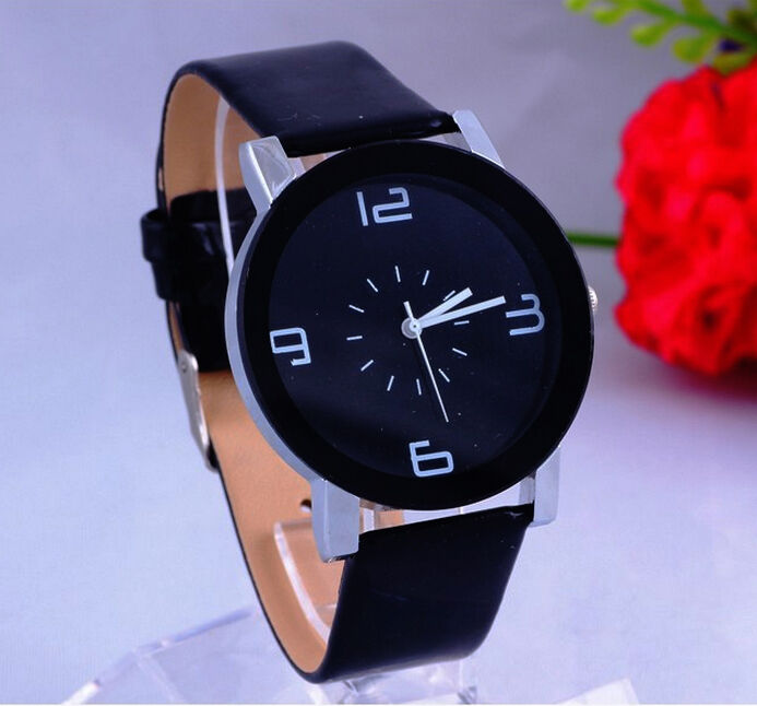 $7.59 - Fashion Black & White Leather Luxury Geneva Lady Women Analog Quartz Wrist Watch