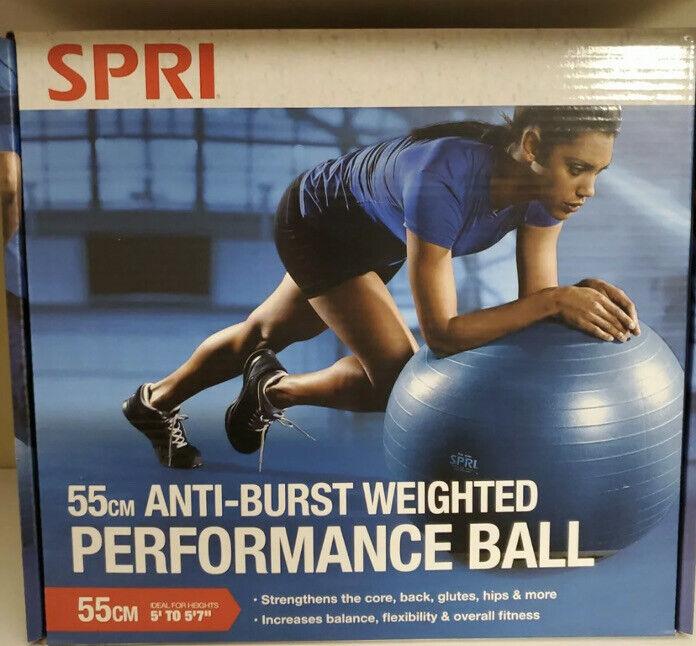SPRI Anti-Burst Weighted Performance Ball Black EXERCISE 55cm NEW!