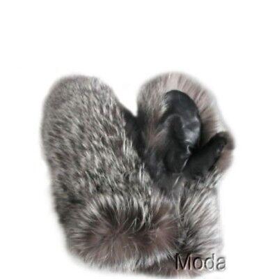 Unisex New Silver Fox Fur Mitten Mittens with Black Leather Men Women