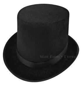 BLACK-TOP-HAT-MAGICIANS-VICTORIAN-RINGMASTER-BURLESQUE-LINCOLN-HAT-FELT