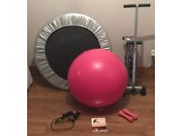 Selection of Exercise Equipment – Pink + Silver