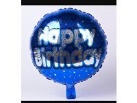 Blue Happy birthday balloons x10