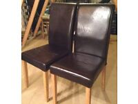 Pair Brown leather look Chairs