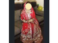 Designer red gold silver Indian/Pakistani bridal wedding lengha