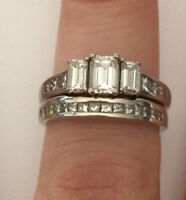 NEW PRICE Diamond Engagement Ring with Wedding Band