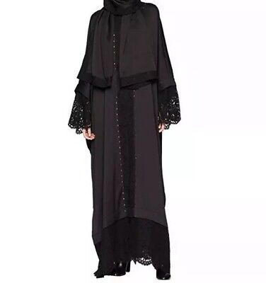 NWT Juicy Couture Women's Embellished Abaya with Lace, Pitch Black Size M