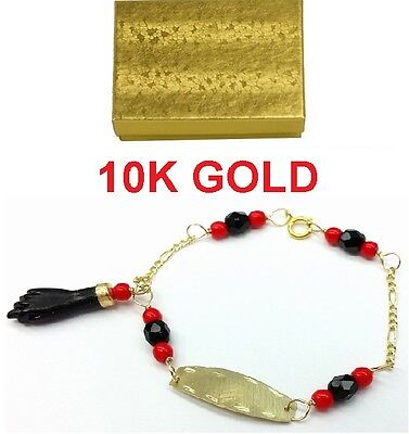 NEW 10K GOLD AZABACHE BABY BRACELET ( PROTECTION FROM EVIL EYE) Mano de (Baby Gold Bracelet)
