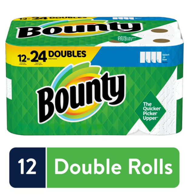 Bounty Select-A-Size Paper Towels, White, 12 Double Rolls =