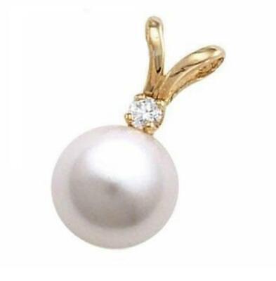 7.5-8mm Japanese White Akoya Pearl Pendant in 14K Yellow Gold & 0.02 ct Diamond