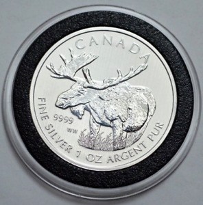 Silver Coin; 1 oz Canadian Maple leaf ( Wild life Moose )