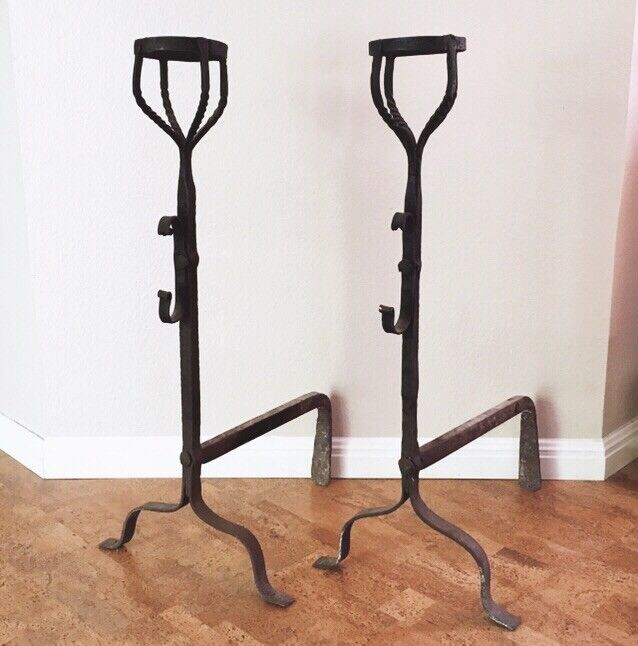 AUSTIN PICKUP Antique French Wrought Iron Cresset Cup Andirons 18th C Primitive