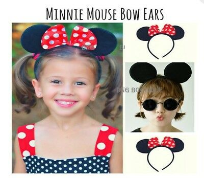 20 Minnie and Mickey Ears Headbands Black RED Bows Party Costume Favors polka - Minnie And Mickey Party Supplies