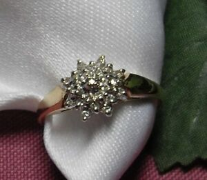 "10k yellow gold ""Diamond Cluster"" Engagement Ring"