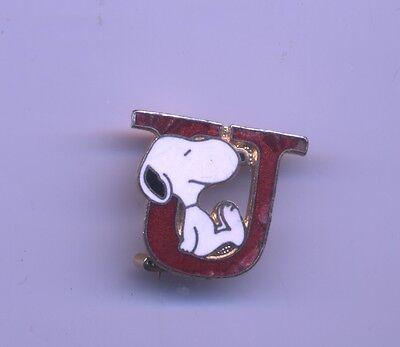 VINTAGE Peanuts SNOOPY Letter U Aviva enamel pin