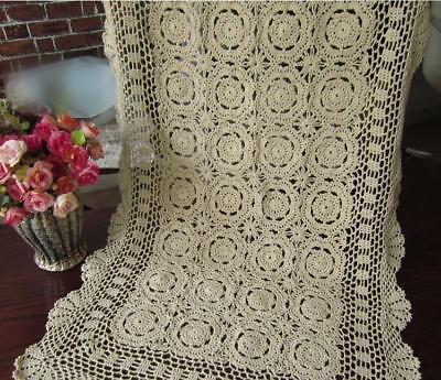 Vintage Crochet Lace Table Runner Dresser Scarf Ecru Rectangle Doily 19x35inch