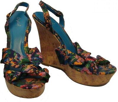 Qupid Cork Platform Wedge Open Toe Sandals Sling Back Dark Floral Size 9 (?) for sale  Shipping to Nigeria