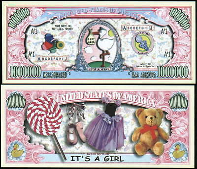 LOT OF 25 IT'S A GIRL MILLION DOLLAR NOVELTY BILLS