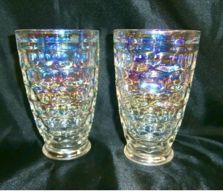 Pair Of Two Federal Glass Co. Rainbow Iridescent Thumbprint Pattern Tumbler Cups