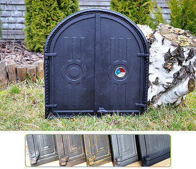 56,5x61 +Thermometer Cast iron fire door clay bread oven stove smoke house DZ063