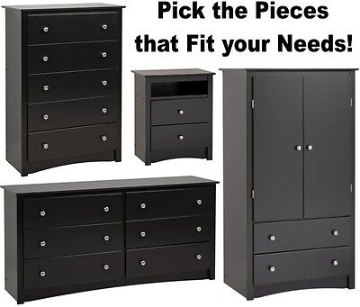 Black Bedroom Furniture Armoire Dresser Drawer Nightstand Chest Dressers Sets