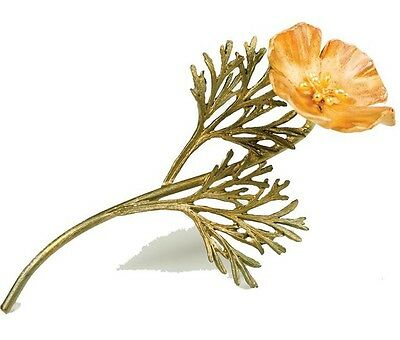 California Poppy Pin Brooch By Michael Michaud - 24k Gold Plate Petals w/Pearls