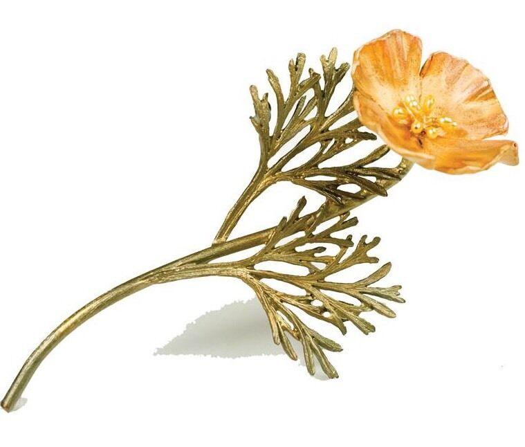 California Poppy Pin Brooch By Michael Michaud - 24k Gold...