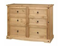 New Solid Corona Mexican pine large 6 drawer wide chest IN STOCK NOW