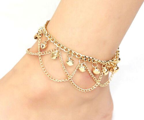 14k Gold Womens Adjustable Layers Anklet Ankle Link Chain Bracelet  D579D