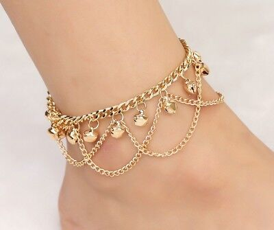 18k Gold Womens Adjustable Anklet Ankle Bracelet Chain Tassels Bell Layers D579