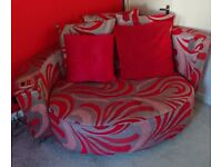 Red and Grey 2 seater sofa/cuddle chair with Ipod dock