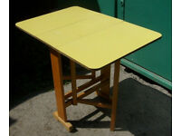 Vintage Retro Formica Drop Leaf Kitchen / Dining Table Yellow 1960's Mid Century