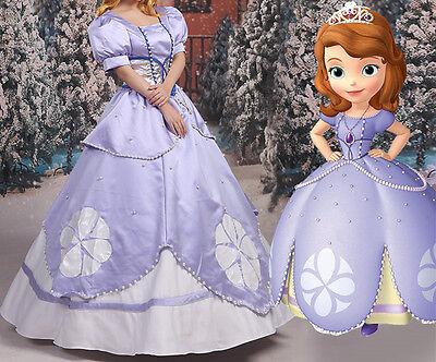 Sofia Kostüme (Sofia the First Disney Cosplay Kostüm Abend-kleid lang long Dress Purple Outfit)