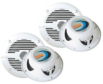 "4) NEW BOSS MR60W 6.5"" 2-Way 400W Marine Speakers White on Rummage"