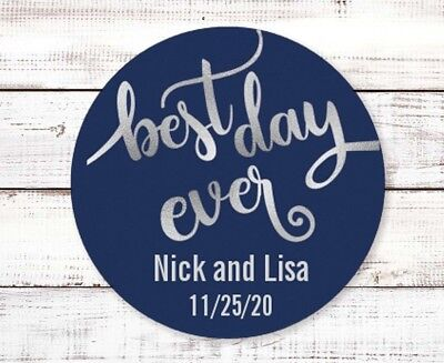 Best Day Ever - Round Personalized Bridal  Wedding Shower Sticker Labels - Personalized Wedding