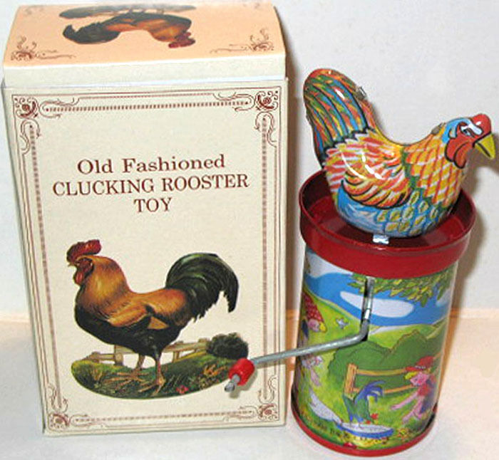 Tin Litho Chicken Rooster Hand Crank Toy Noise Maker HTF
