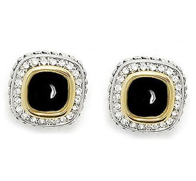 Designer Cable Eternity Earring Jet Black and Crystal Omega Clip
