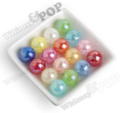 20mm Crackle AB Chunky Gumball Beads, Rainbow Coated Bubblegum Beads - - Rainbow Gumballs