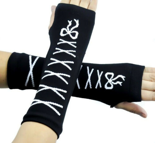 Black-with-White-Laces-Ribbons-Elastic-Fingerless-Arm-Warmer-Elbow-Long-Gloves