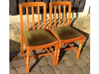2 dining chairs in golden oak genuinely from 1950