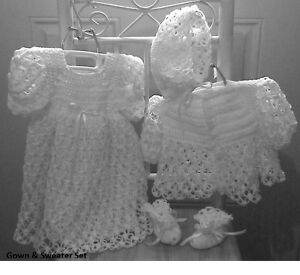 White-Crochet-Baby-Christening-Gown-Sweater-Hat-amp-Booties-or-Afghan-Layette-Set
